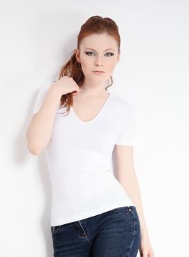 T-Shirt Scollo V Manica Corta